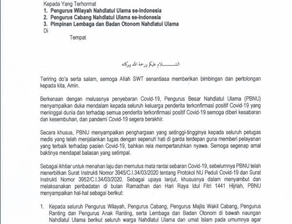 Darurat Corona, NU Imbau Umat Islam Salat Tarawih dan Idul Fitri di Rumah