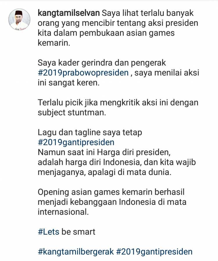Postingan Kader Gerindra Tentang Asian Games Ini Bikin Salut, Ingatkan Warganet Tidak Picik