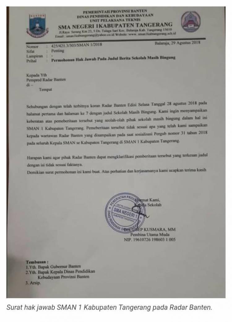 Tak Terima Pernyataannya Dipelintir, Kepala SMAN 1 Kabupaten Tangerang Ajukan Hak Jawab ke Radar Banten