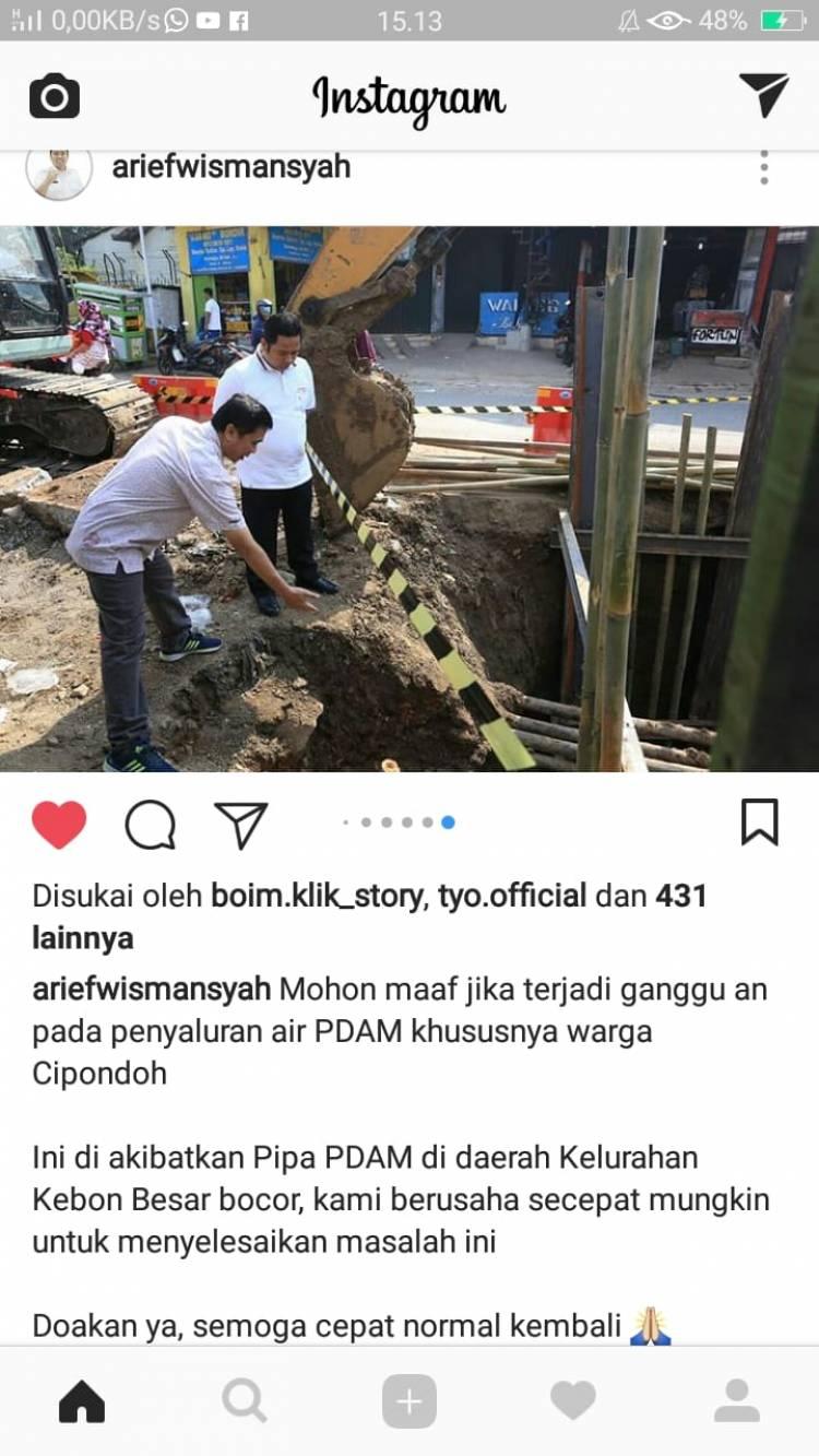 Pipa Air Bocor, Arief Minta PDAM Kerja 24 Jam