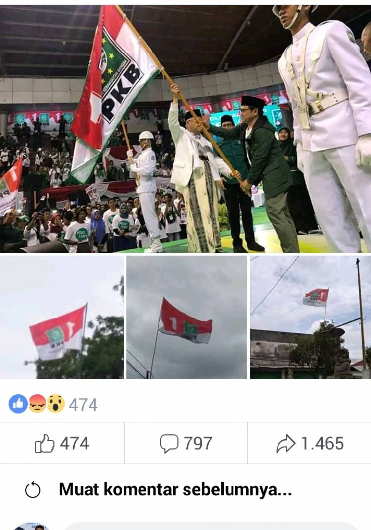 Viral Merah Putih 'Ditiban' Bendera Partai, Netizen : Sontoloyo.!