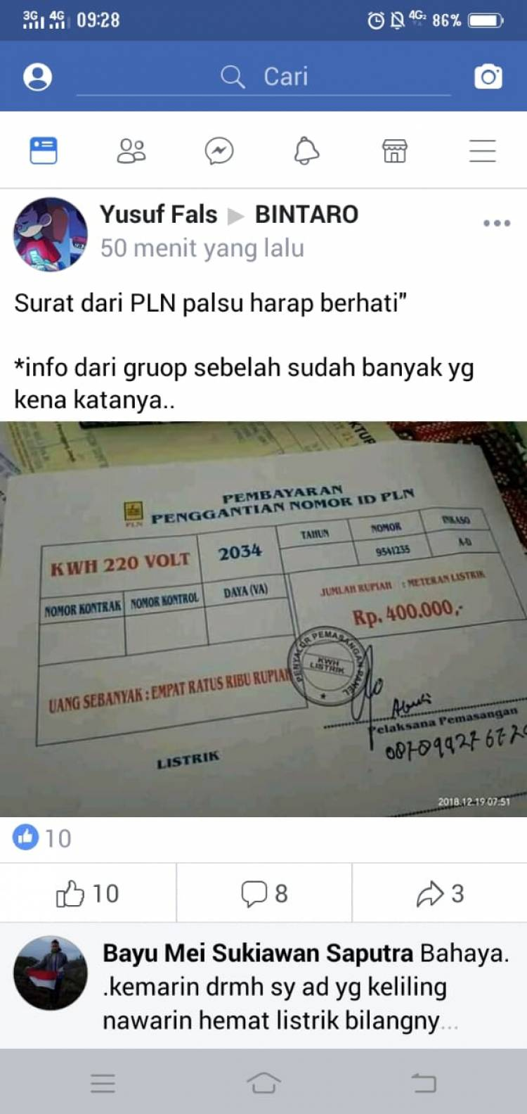 Warga Bintaro Resah, Diteror Surat Palsu Ngaku dari PLN