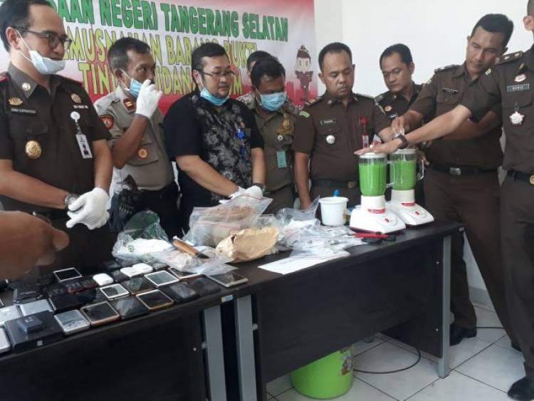 Perdana, Ribuan Gram Sabu Dimusnahkan Kejari Tangsel
