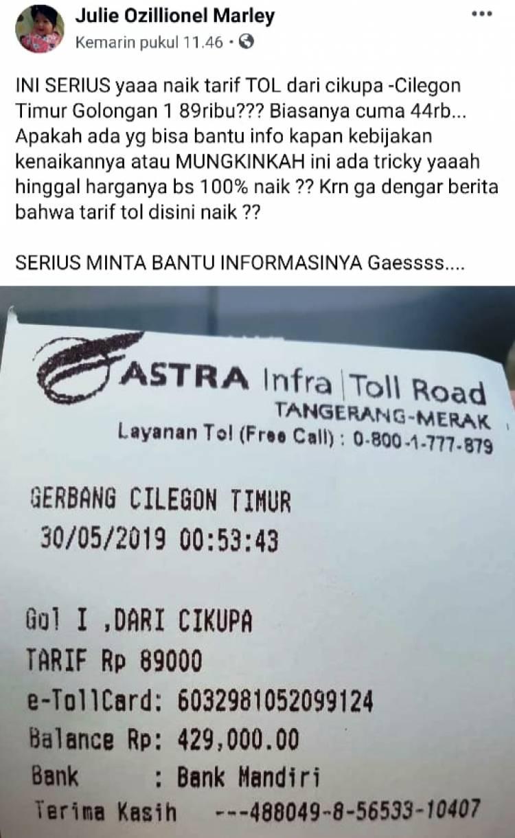 Viral Tarif Tiket Tol Cikupa-Merak Naik 2 Kali Lipat, Ini Kata Astra Tol Road