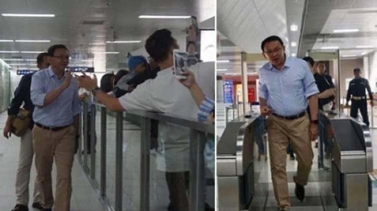 Jelang Susun Kabinet, Ahok 'Unjuk Gigi' Naik MRT