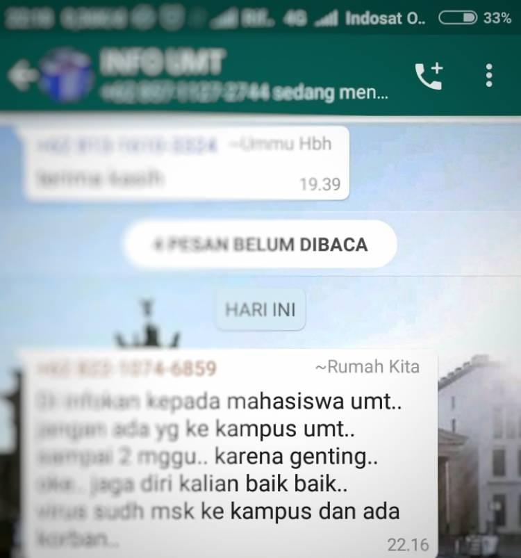 Ramai Kabar Dosen Universitas Muhamadiyah Tangerang Suspect Corona, Humas: Masih Dicari Tahu Kebenarannya