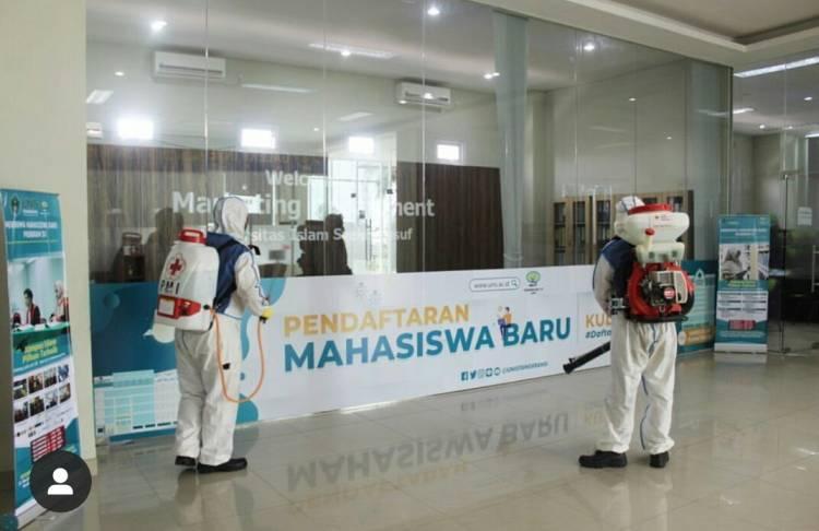 #cegahCorona, Kampus Unis Tangerang Disemprot Disinfektan