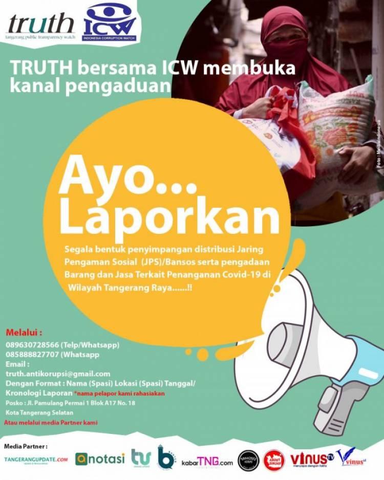 Bansos di Tangerang Raya Dinilai Amburadul, TRUTH Dan ICW Buka Kanal Pengaduan