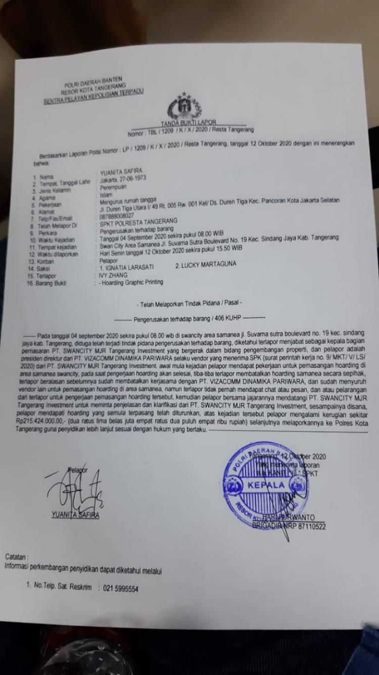Bergaya Preman, WNA Asal China di Tangerang Dilaporkan ke Polisi