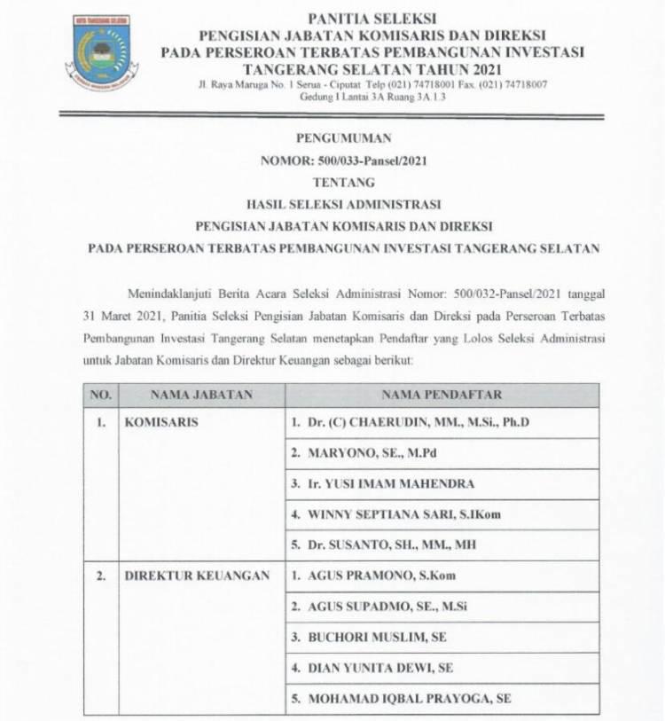 Pentolan Gerindra Tangsel Komen Soal Seleksi Direksi PT PITS