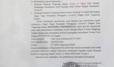 Gugus Tugas Covid-19 Kota Tangsel Keluarkan Surat Rekomendasi Operasional Tempat Usaha Dimasa PSBB